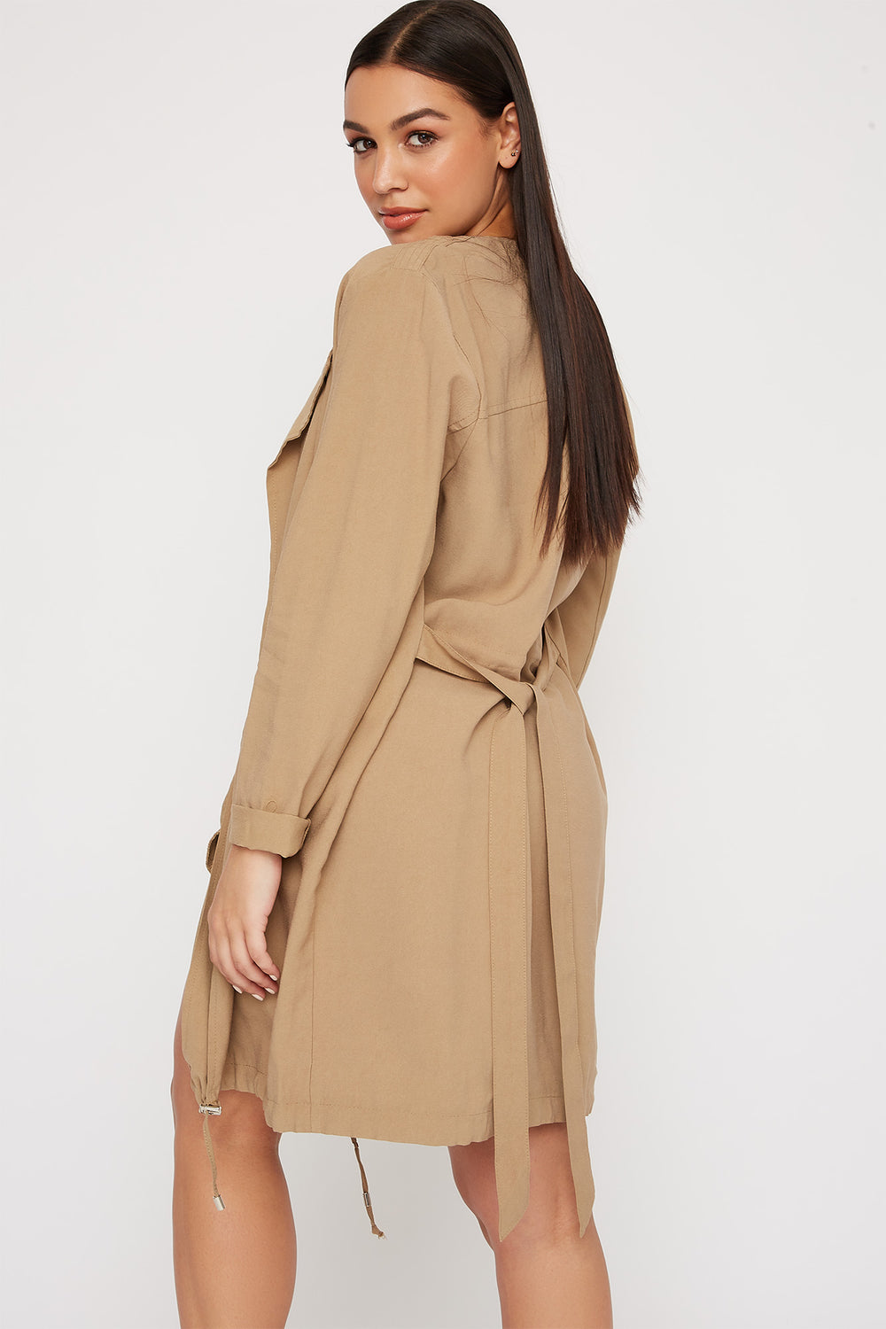 Women Outerwear Open-Front Belted Waterfall Jacket Tan