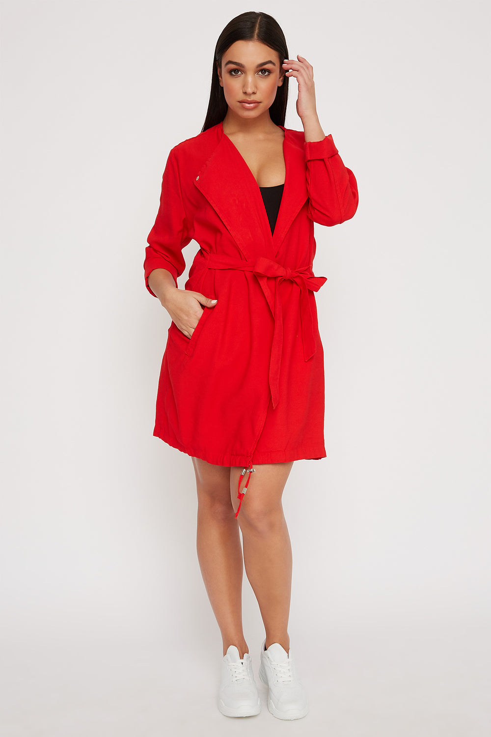 Women Outerwear Open-Front Belted Waterfall Jacket Red