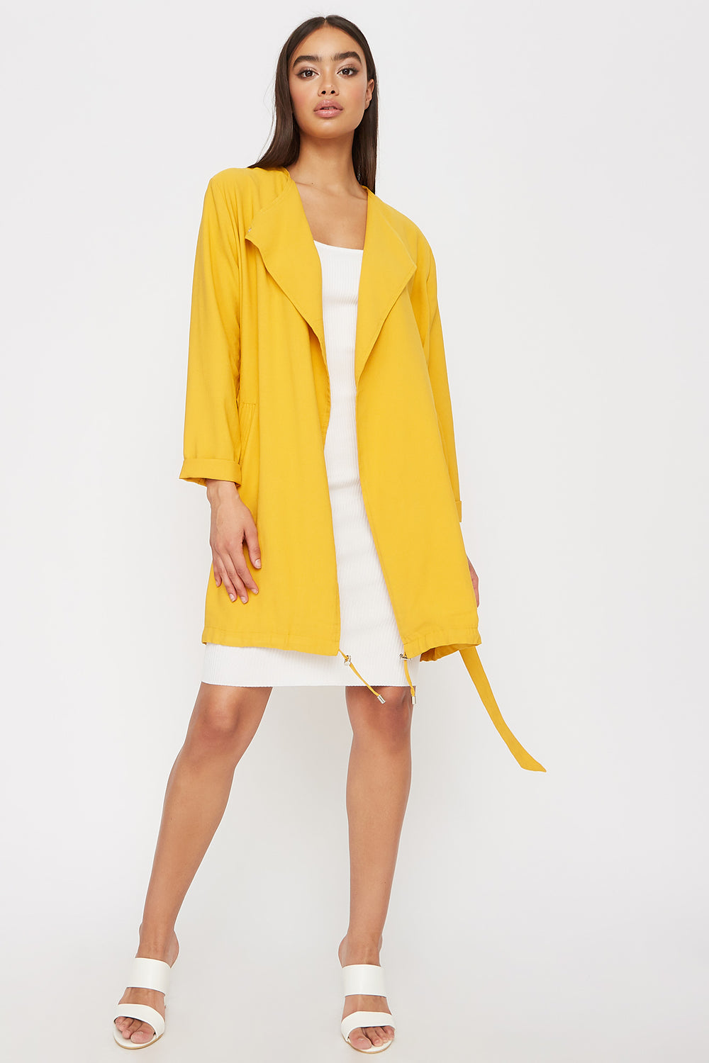 Women Outerwear Open-Front Belted Waterfall Jacket Mustard