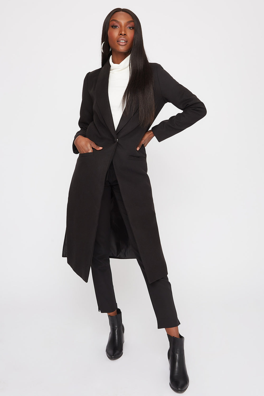 Longline Duster Coat Black