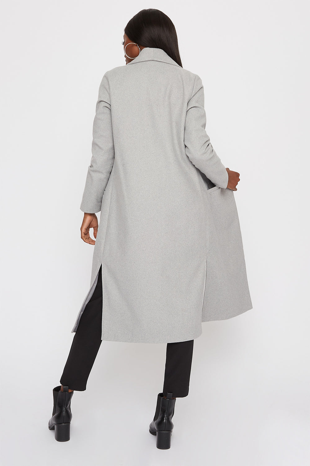 Longline Duster Coat Heather Grey
