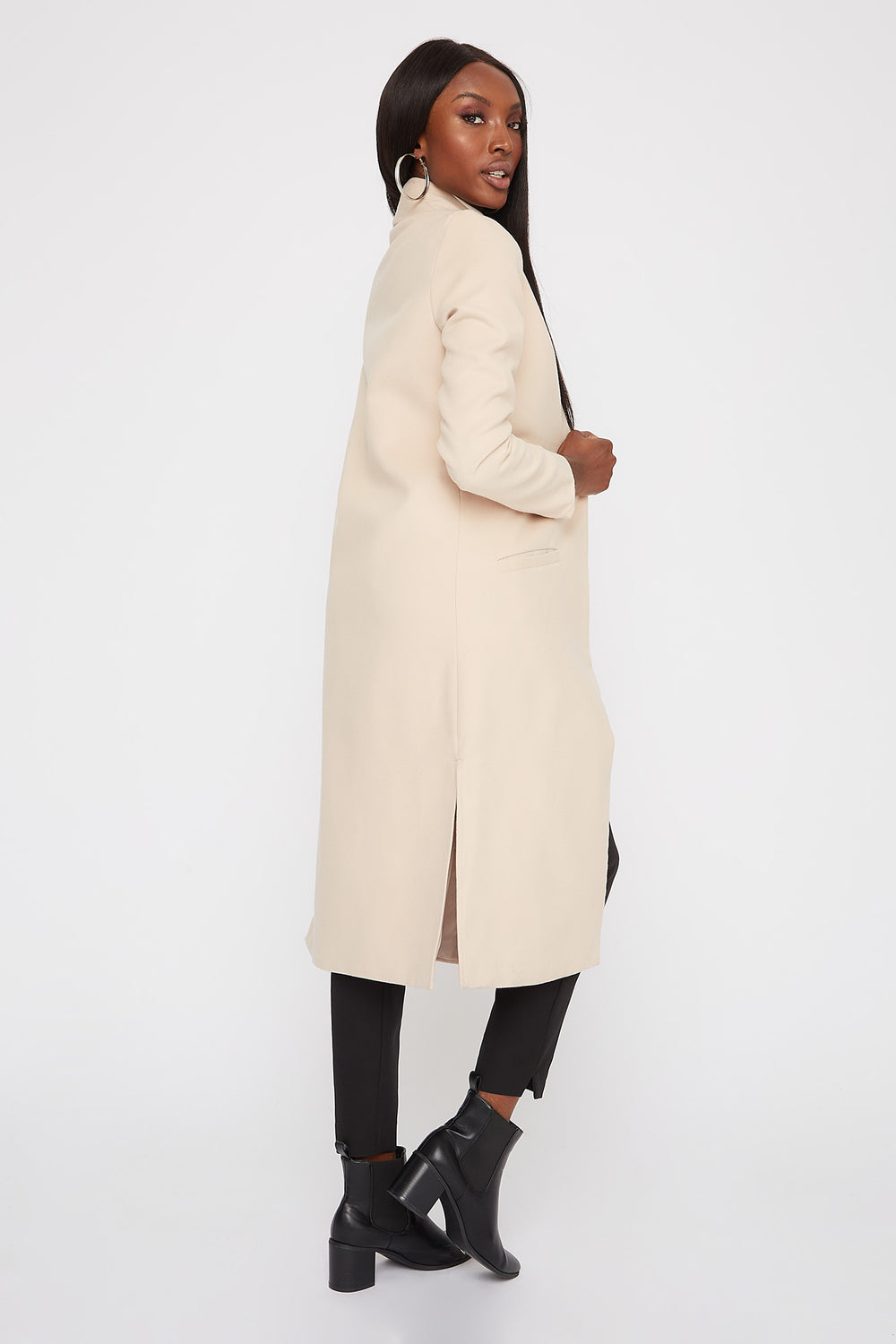 Longline Duster Coat Oatmeal