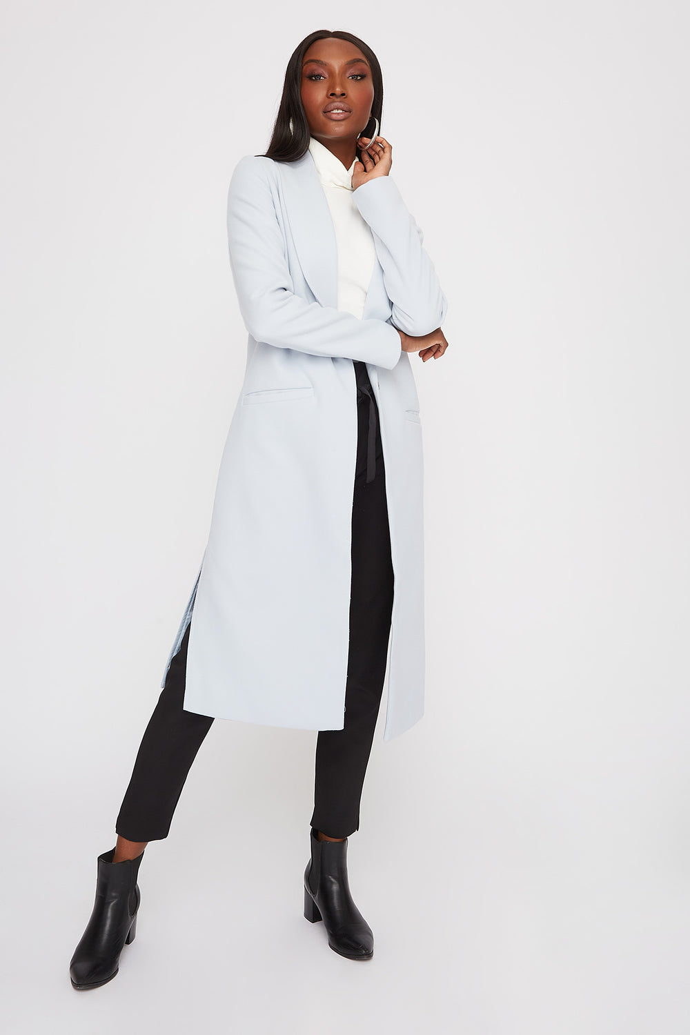 Longline Duster Coat Light Blue