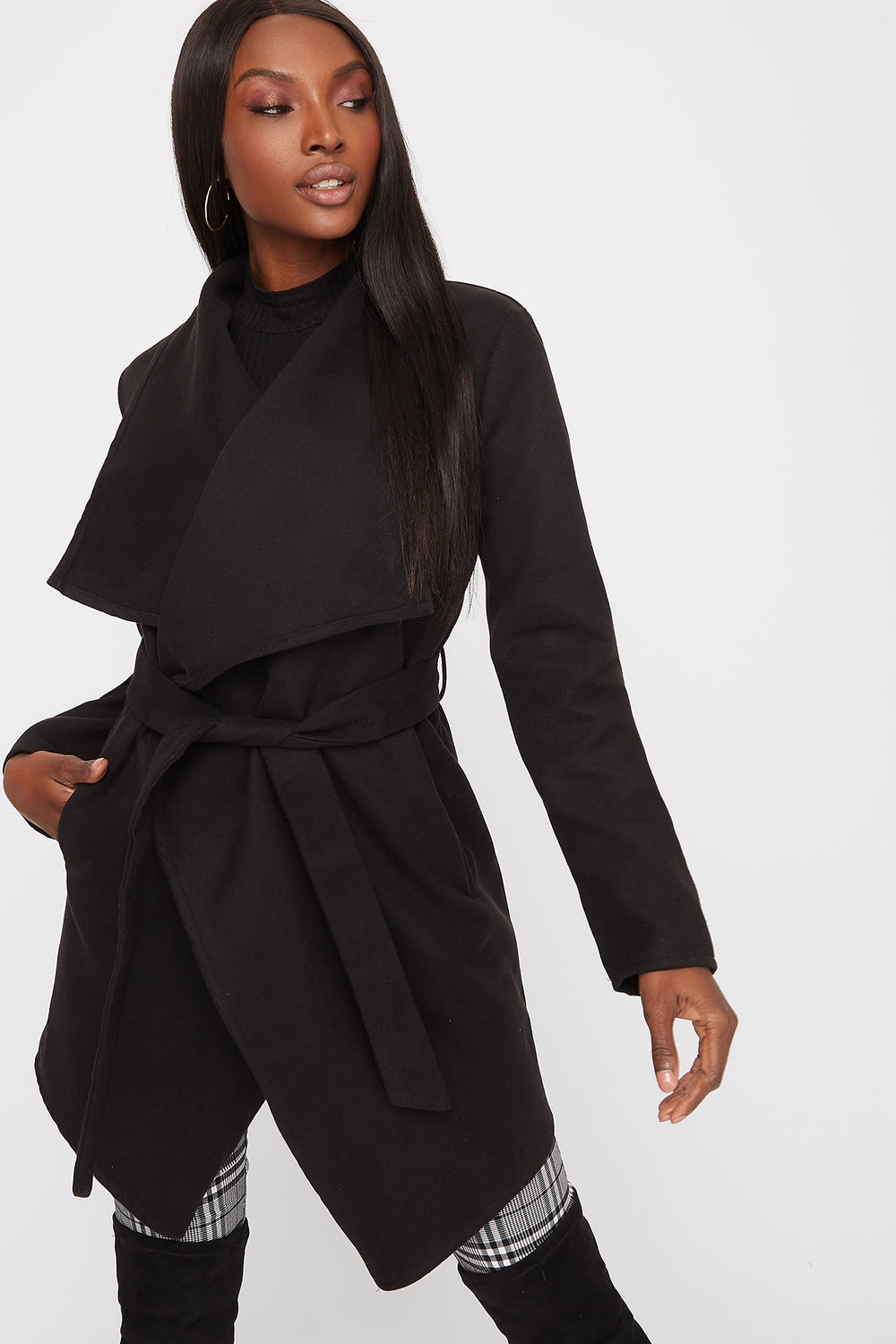 Waterfall Self Belt Coat Black