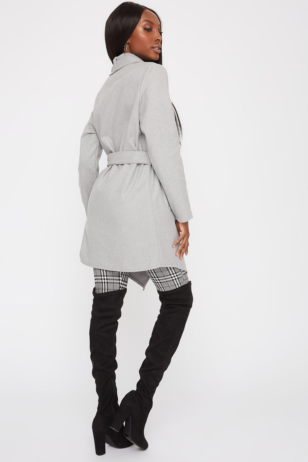 Waterfall Self Belt Coat Heather Grey