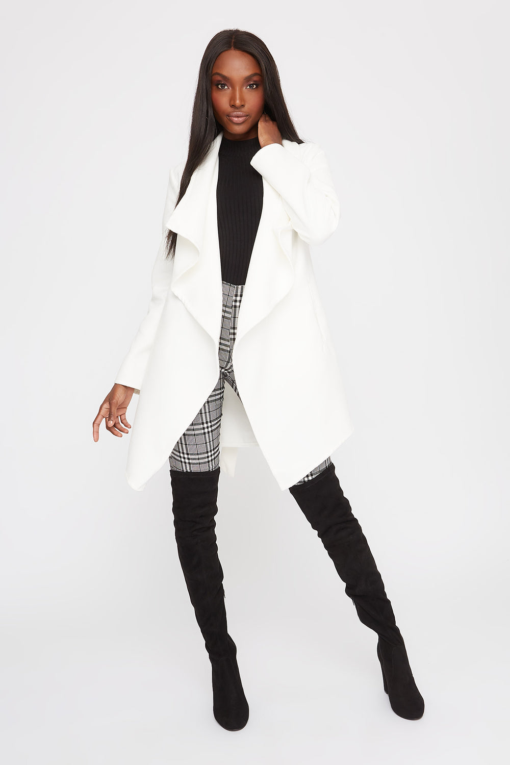 Waterfall Self Belt Coat White