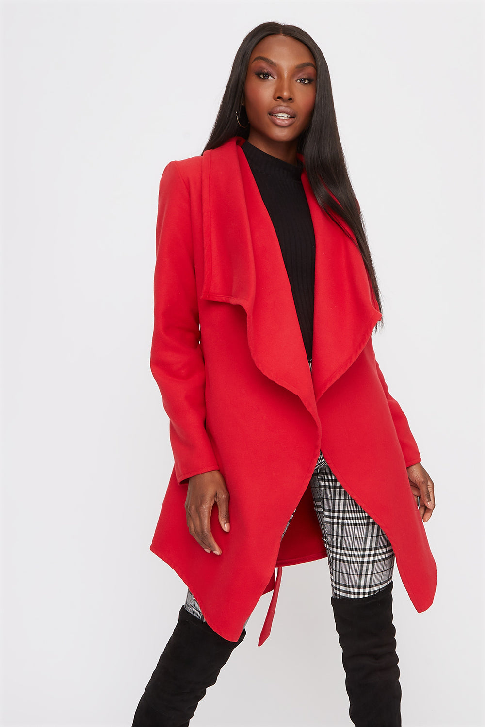 Waterfall Self Belt Coat Red