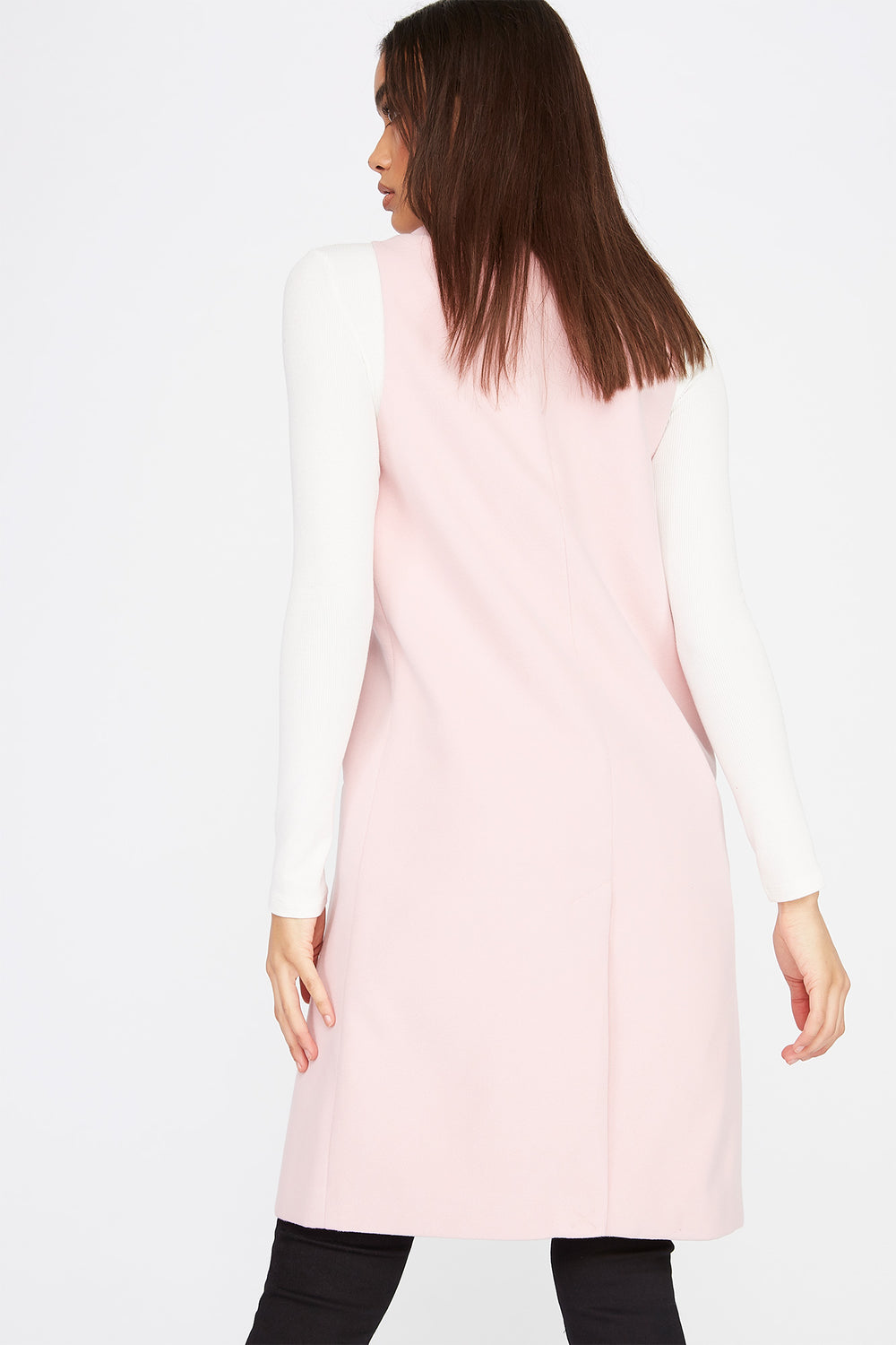 Longline Duster Vest Dusty Rose
