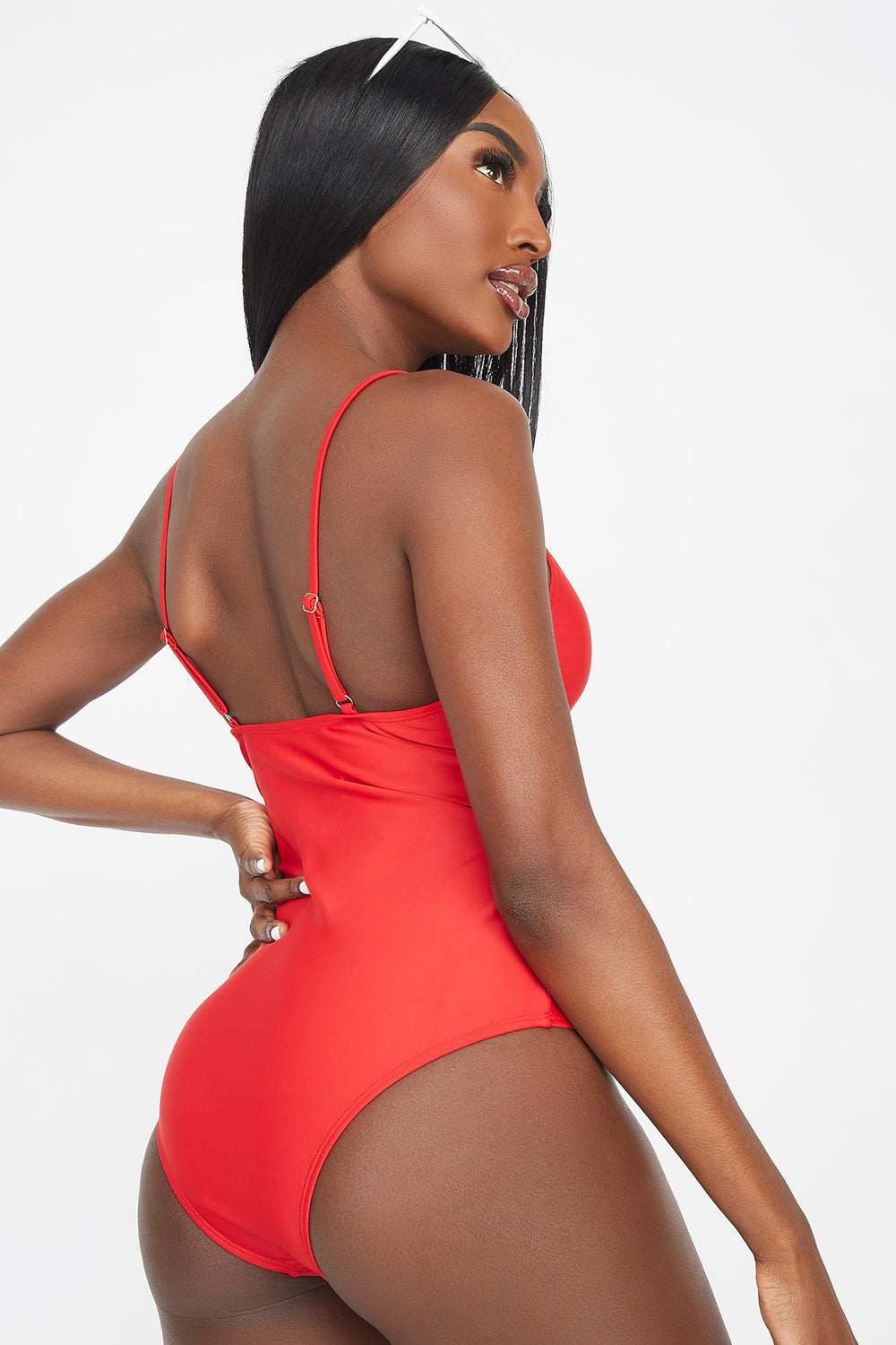 Lace-Up Front One Piece Swimsuit Red