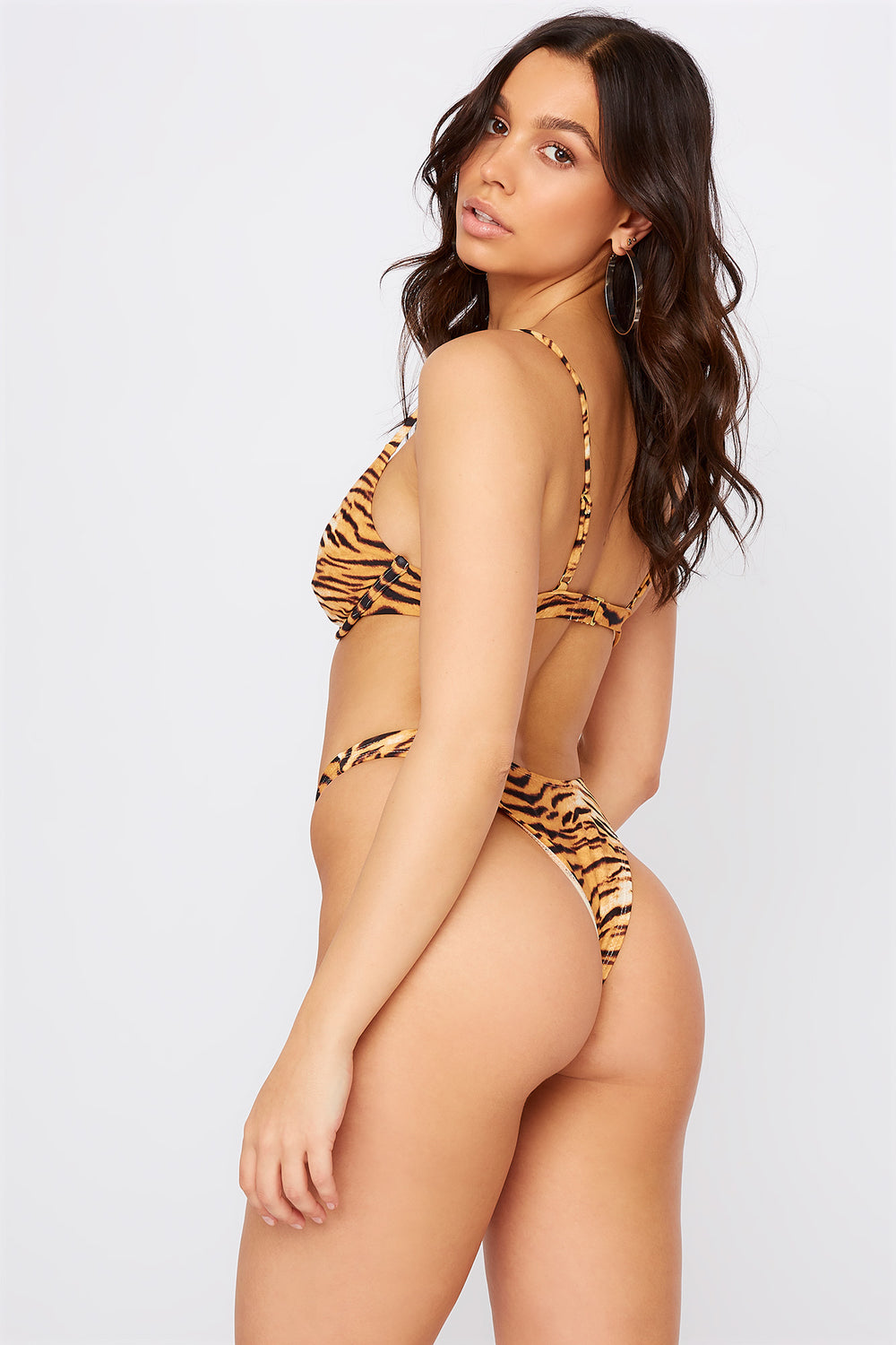 Solid High Leg Bikini Bottom Brown