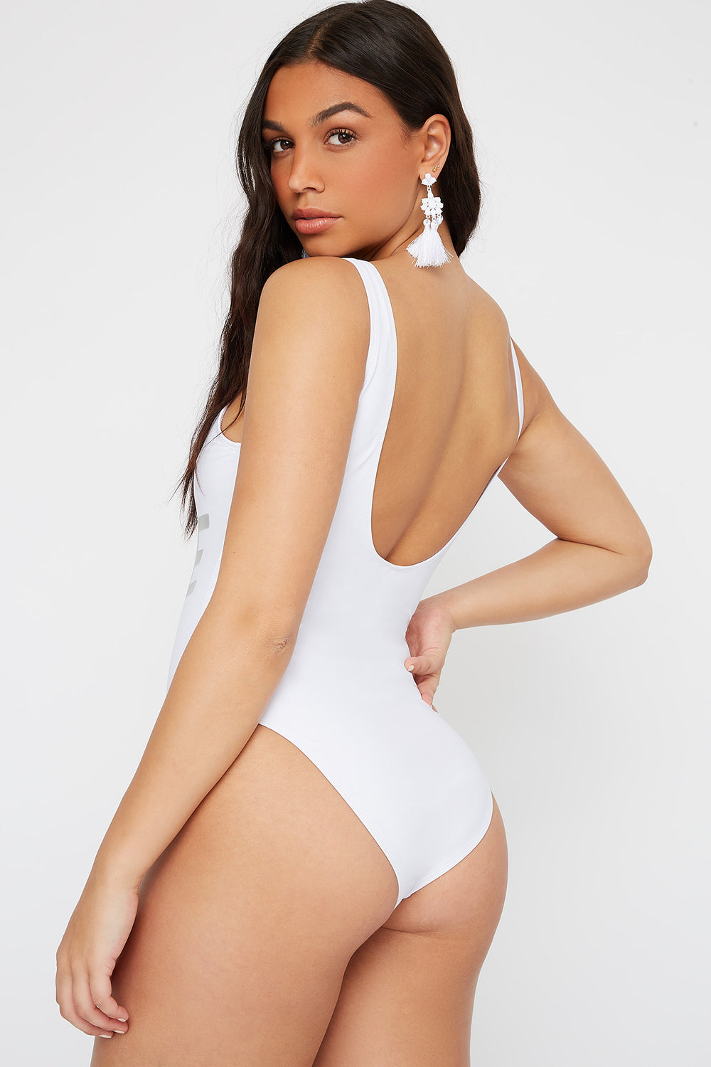 Scoop Back One Piece Swimsuit White