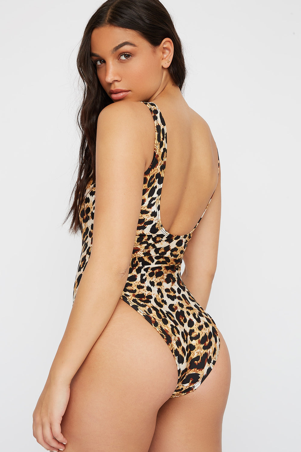 Scoop Back One Piece Swimsuit Brown