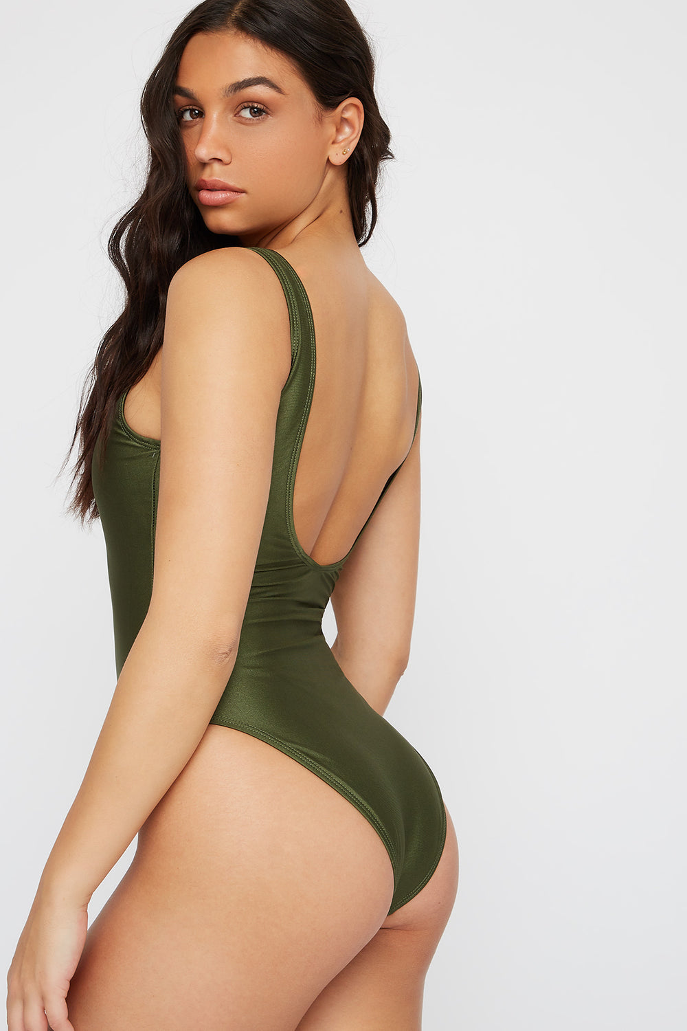 Scoop Back One Piece Swimsuit Dark Green