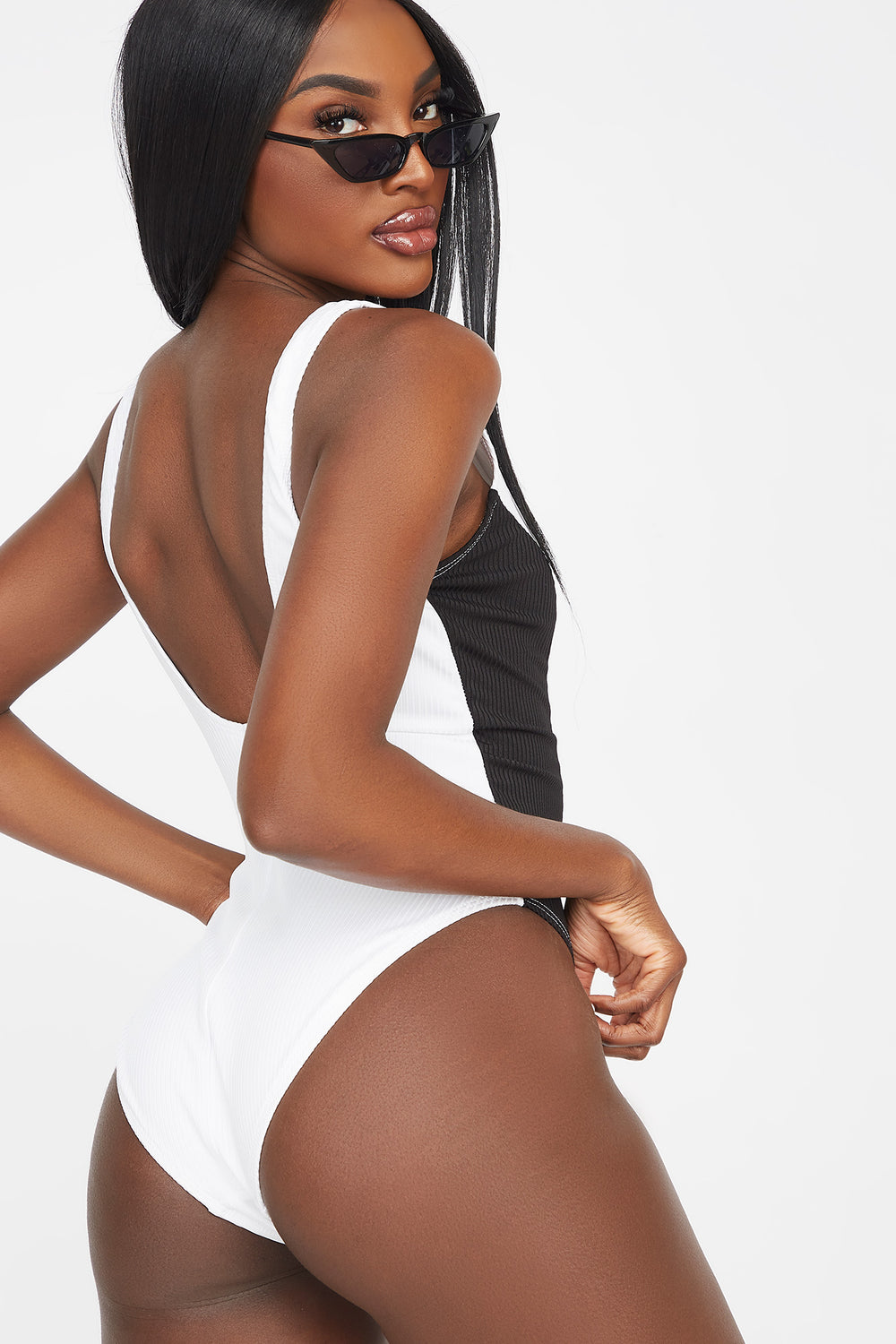 Ribbed Front Zip Colour Block One Piece Swimsuit White
