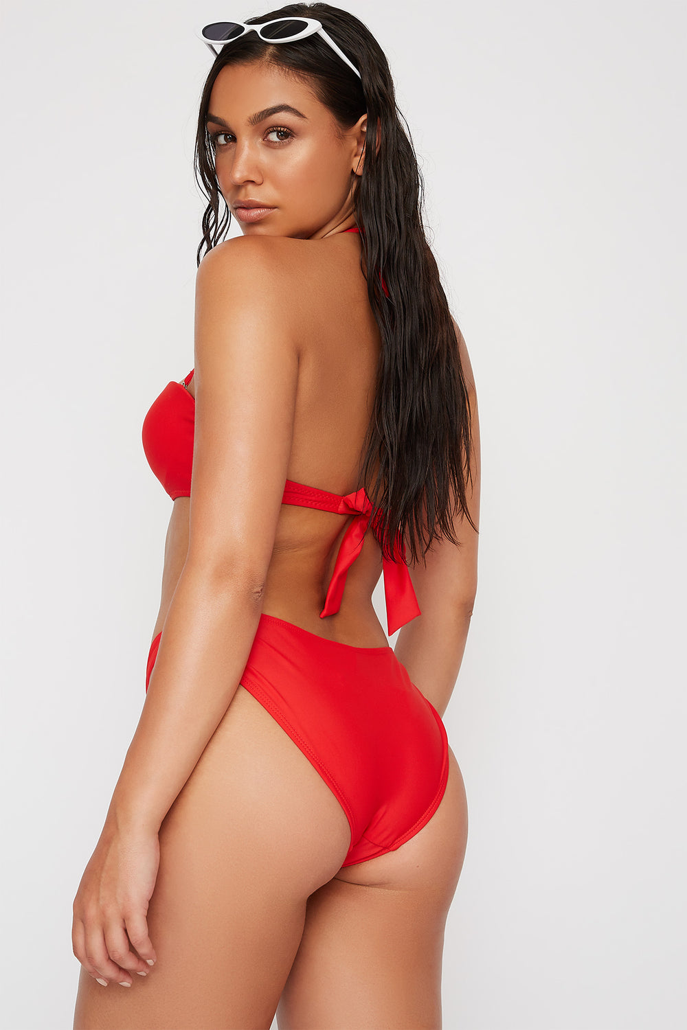 Loop Side Bikini Bottom Red