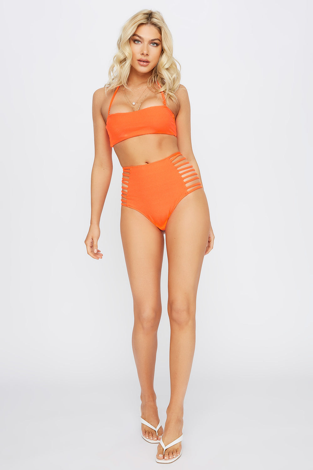 Removable Strap Bandeau Bikini Top Neon Orange