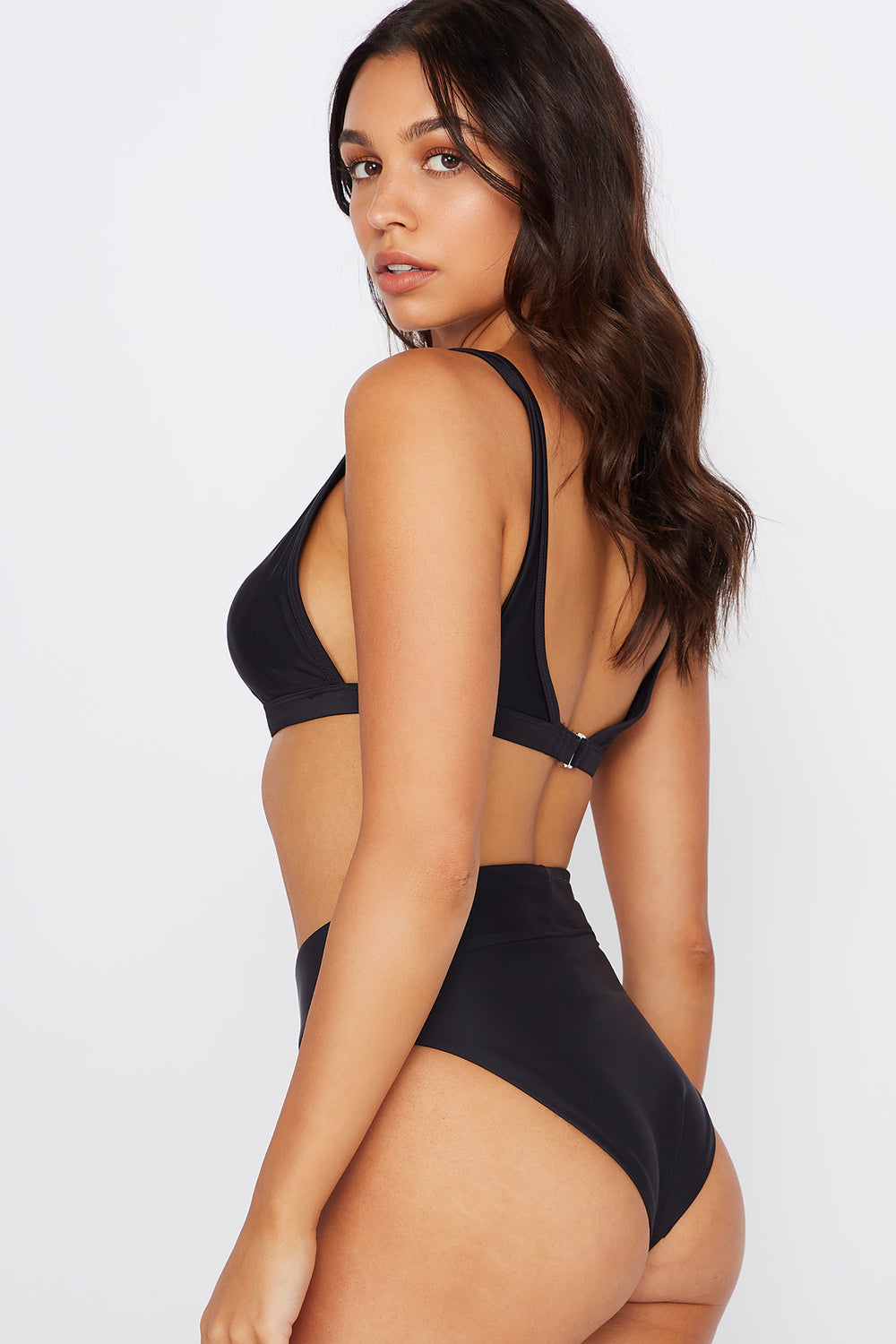 High-Rise Banded Bikini Bottom Black