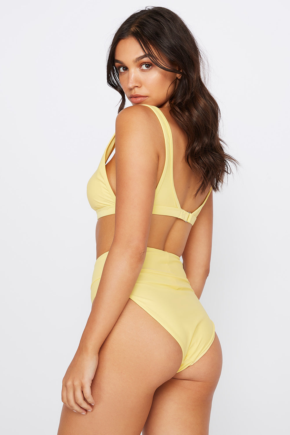 High-Rise Banded Bikini Bottom Yellow