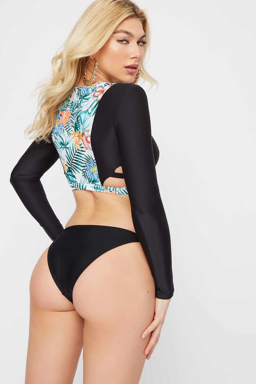 Cut Out Pattern Block Long Sleeve Swim Top Assorted