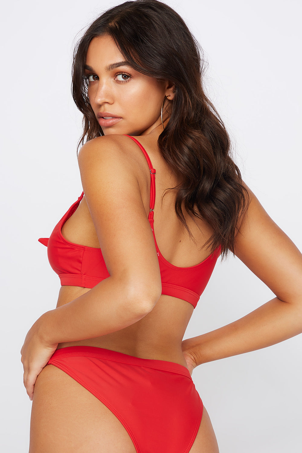 Keyhole Front Knot Bikini Top Red