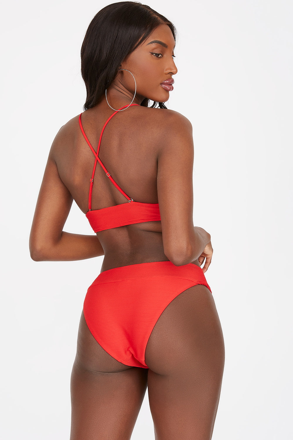 Ribbed Brazilian Bikini Bottom Red