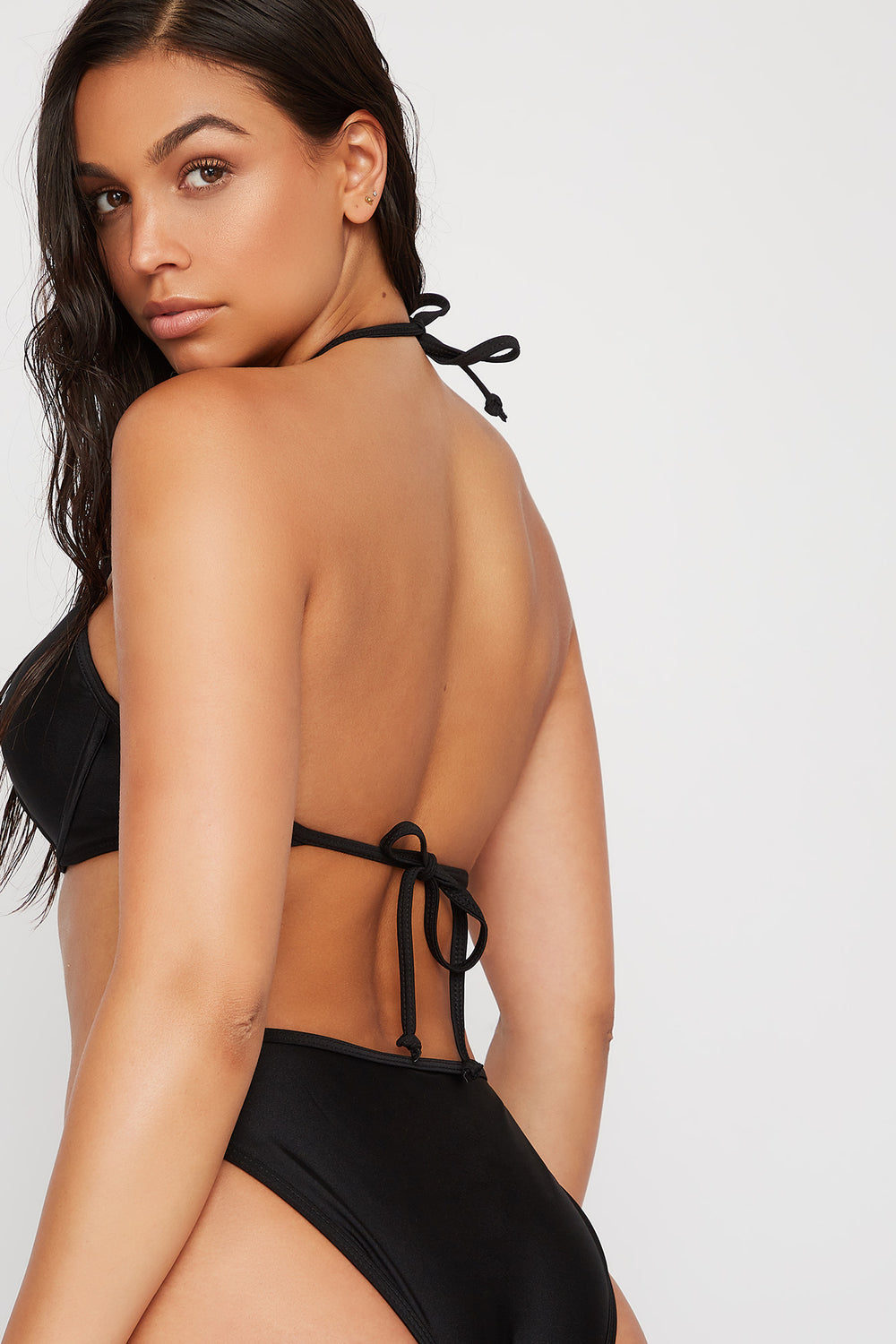 Halter Push-Up Bikini Top Black