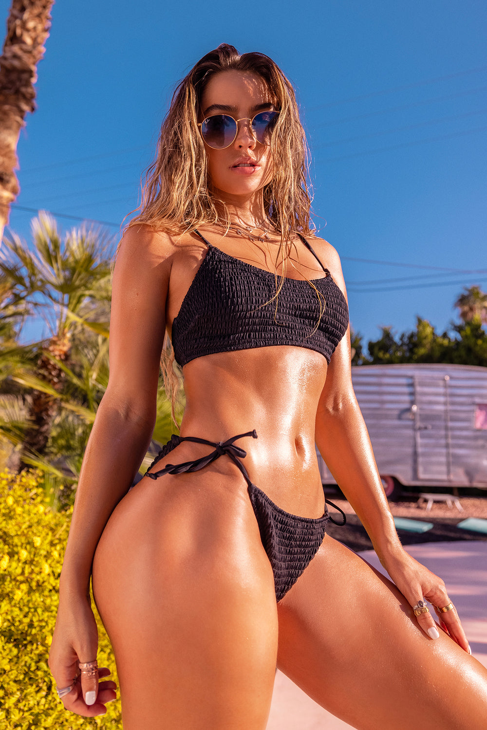 Sommer Ray Smocked Side Tie Bikini Bottom Black