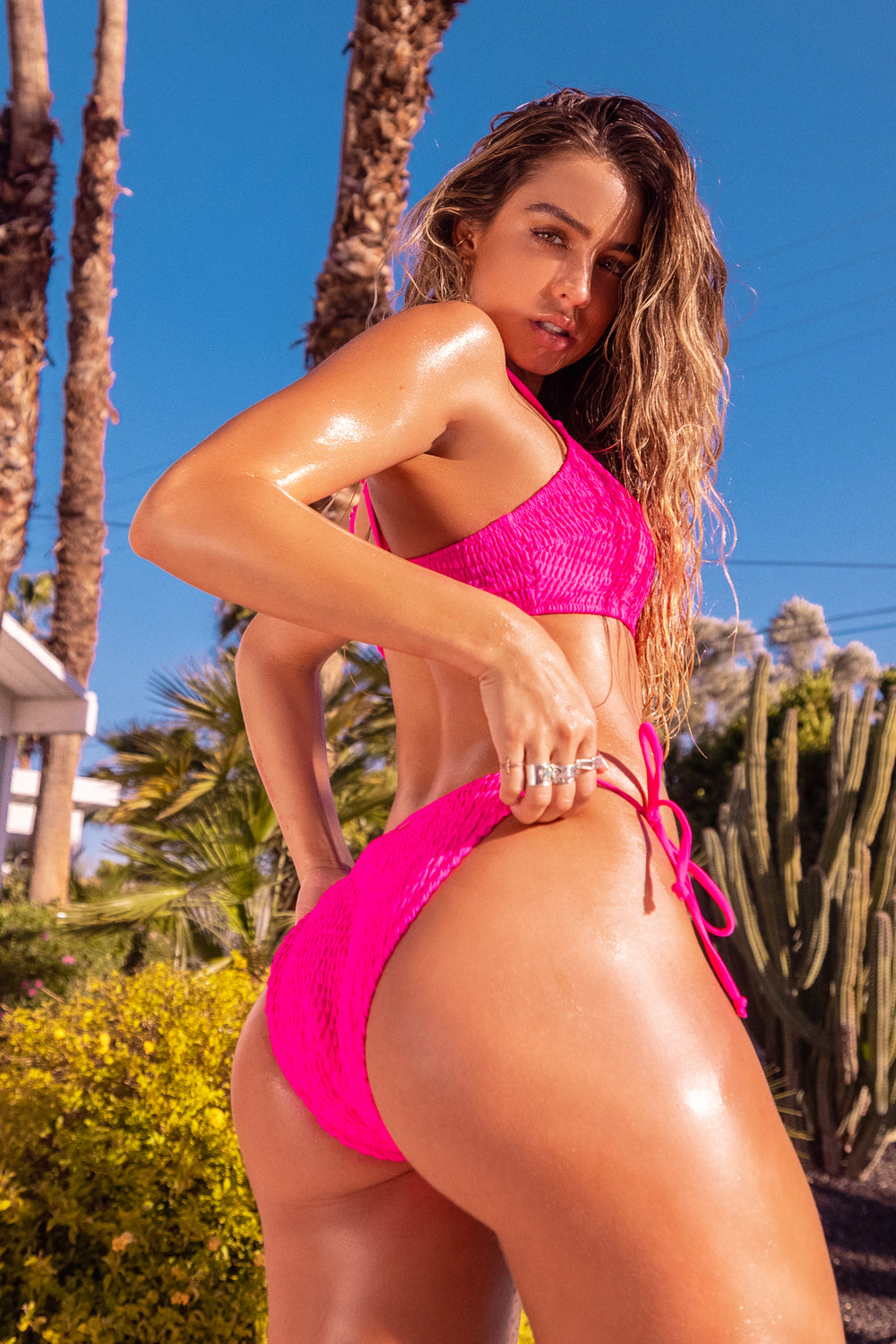 Sommer Ray Smocked Side Tie Bikini Bottom Neon Pink