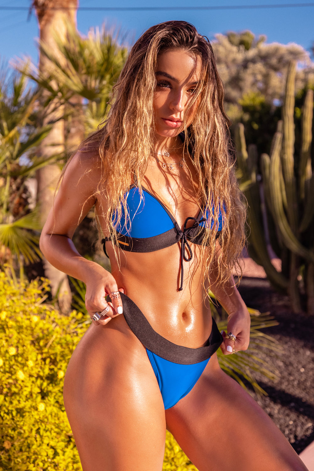Sommer Ray Padded Colour Block Triangle Bikini Top Royal Blue