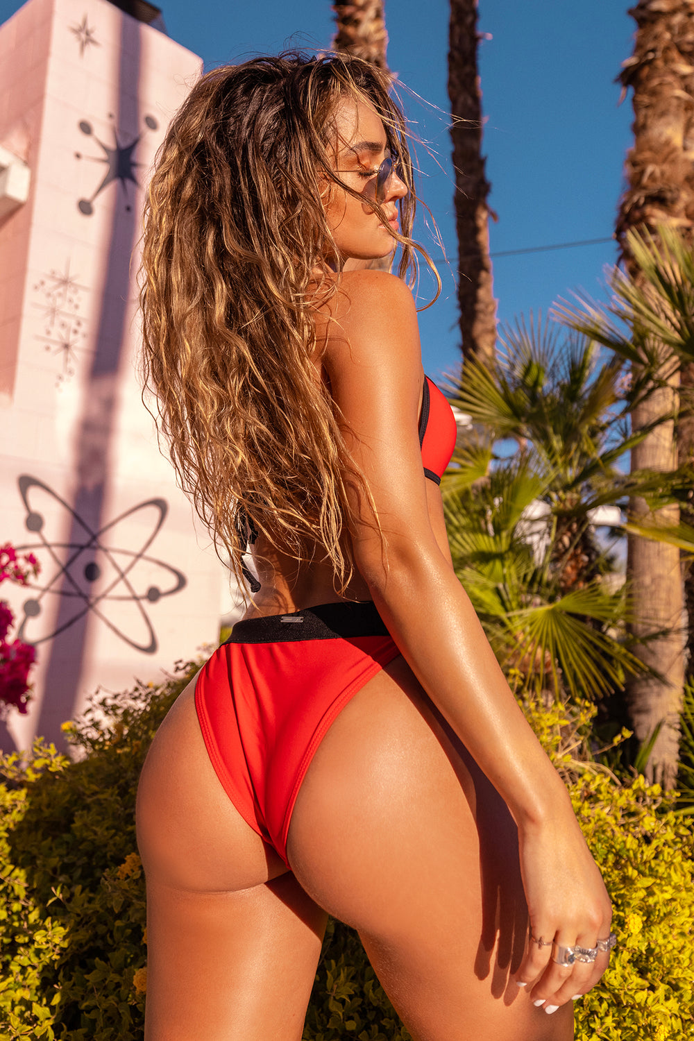Sommer Ray Padded Colour Block Triangle Bikini Top Red