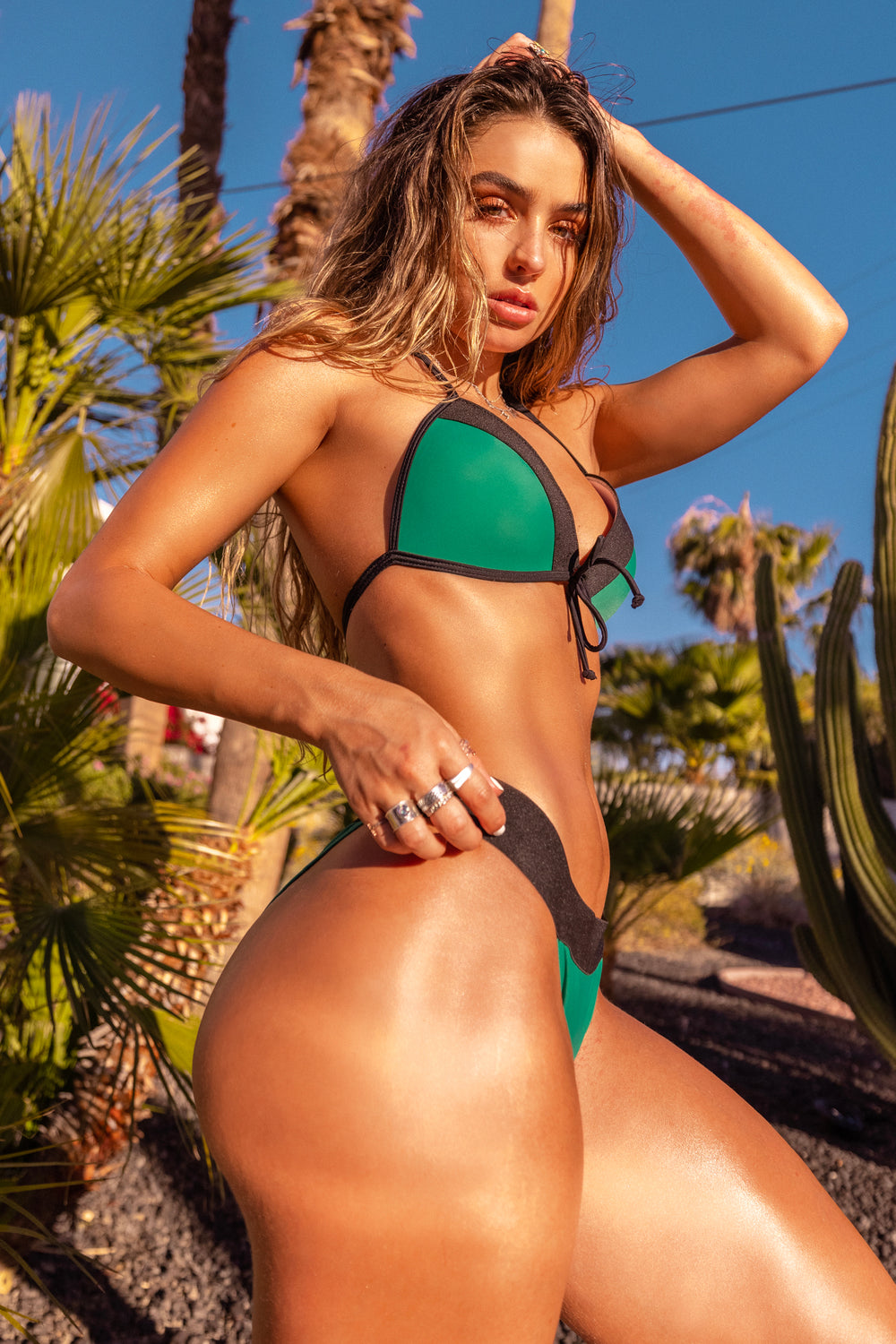 Sommer Ray Colour Block Bikini Bottom Green