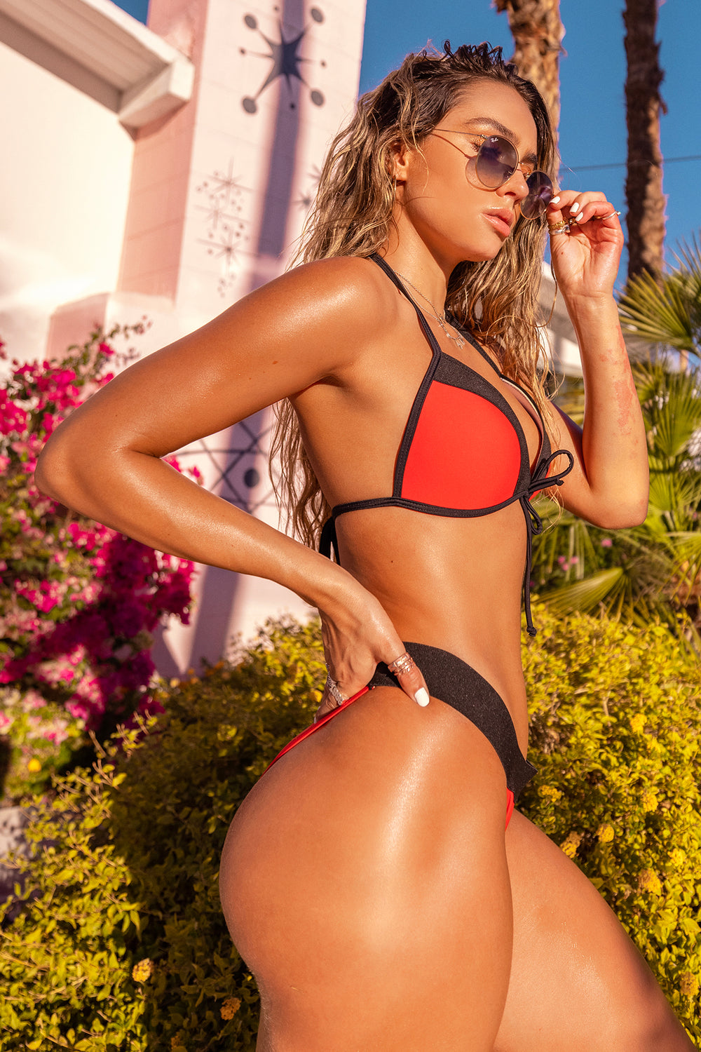 Sommer Ray Colour Block Bikini Bottom Red