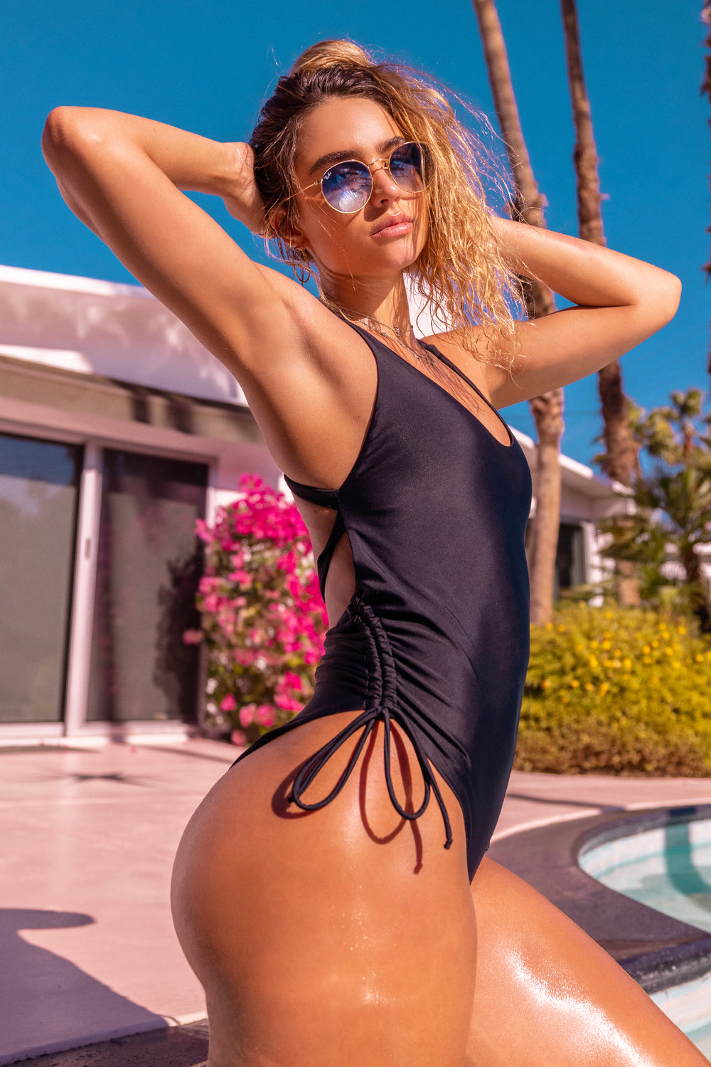 Sommer Ray Criss Cross Back Ruched One Piece Swimsuit Black