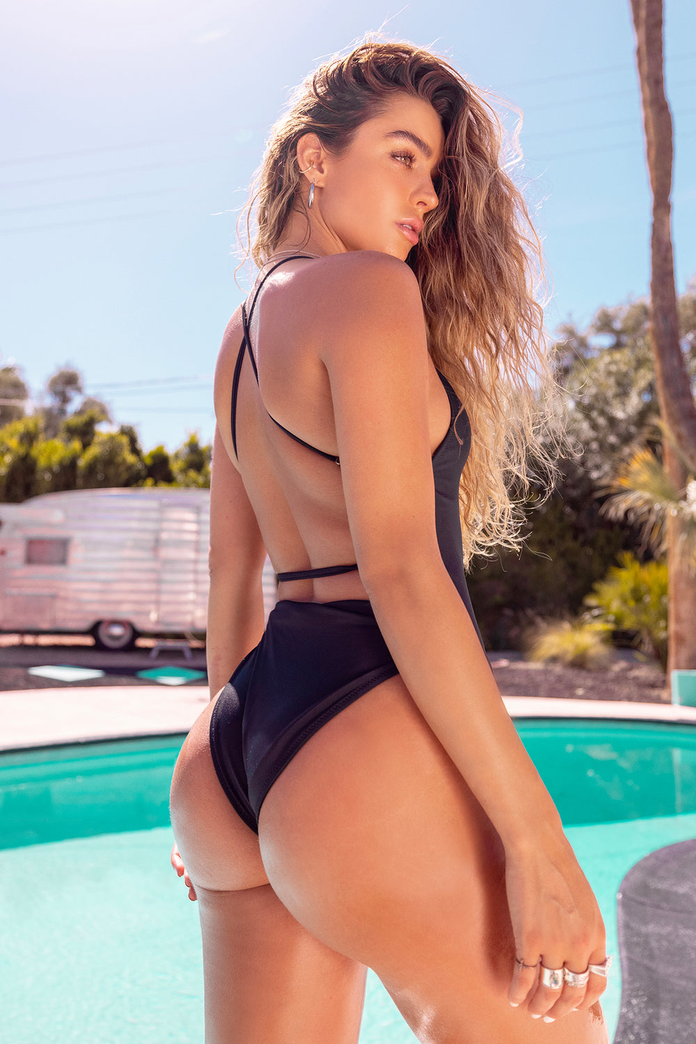 Sommer Ray Criss Cross Back One Piece Swimsuit Black
