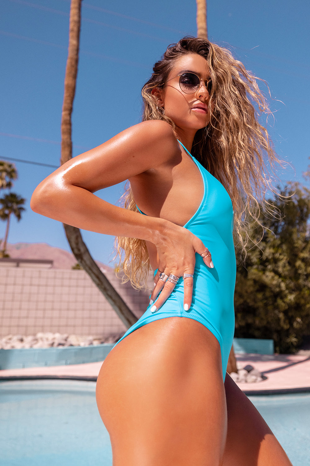 Sommer Ray Criss Cross Back One Piece Swimsuit Blue