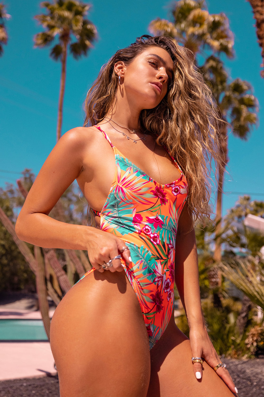 Sommer Ray Criss Cross Back One Piece Swimsuit Coral