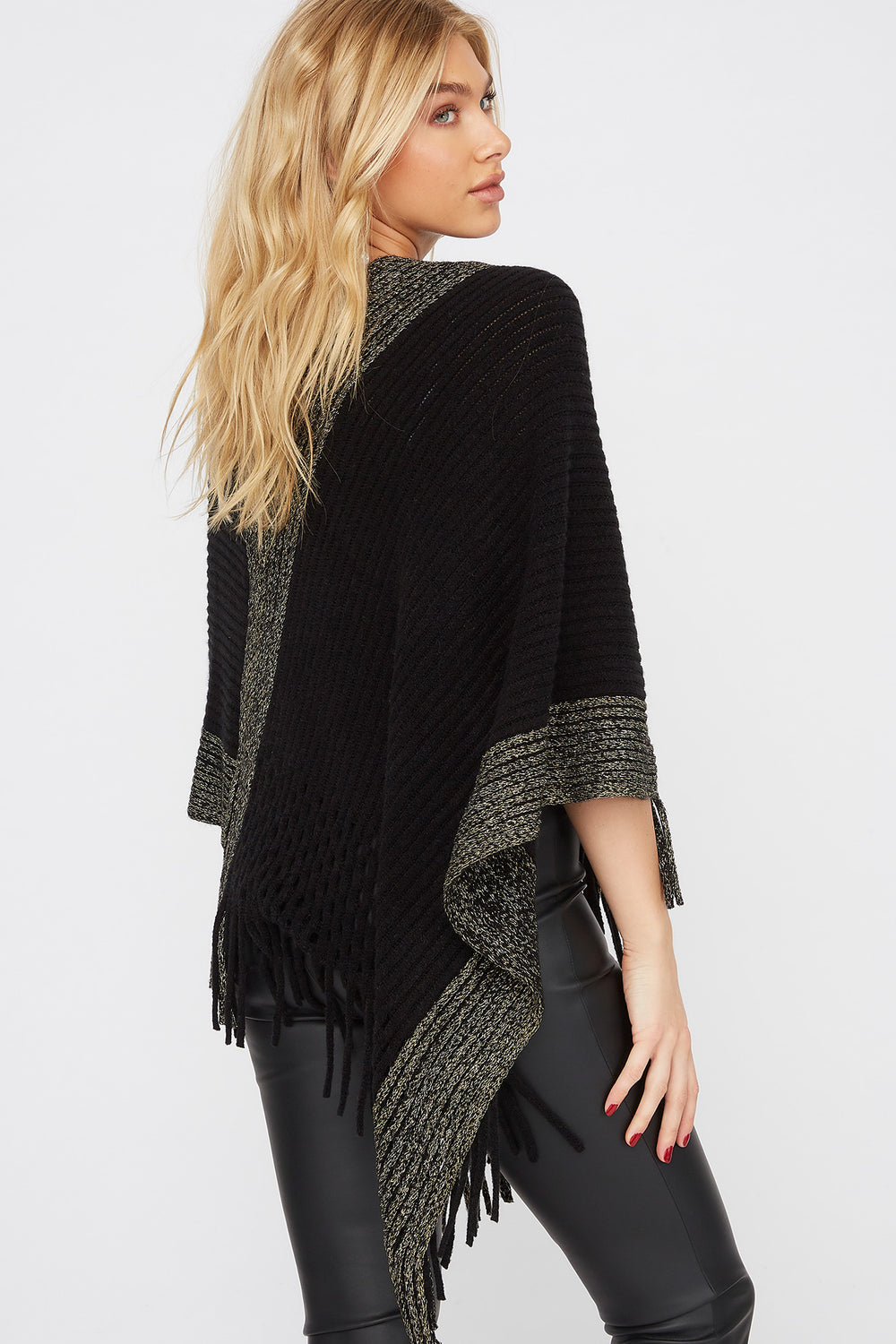Gold Stripe Fringe Poncho Black