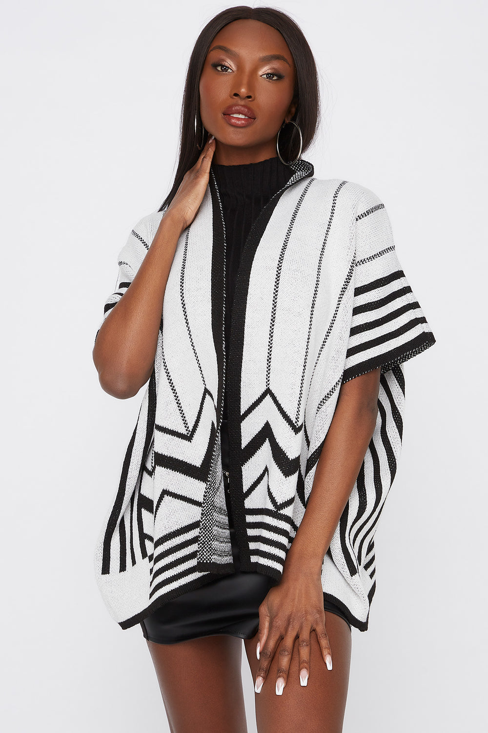 Striped Short Sleeve Cape Black with White