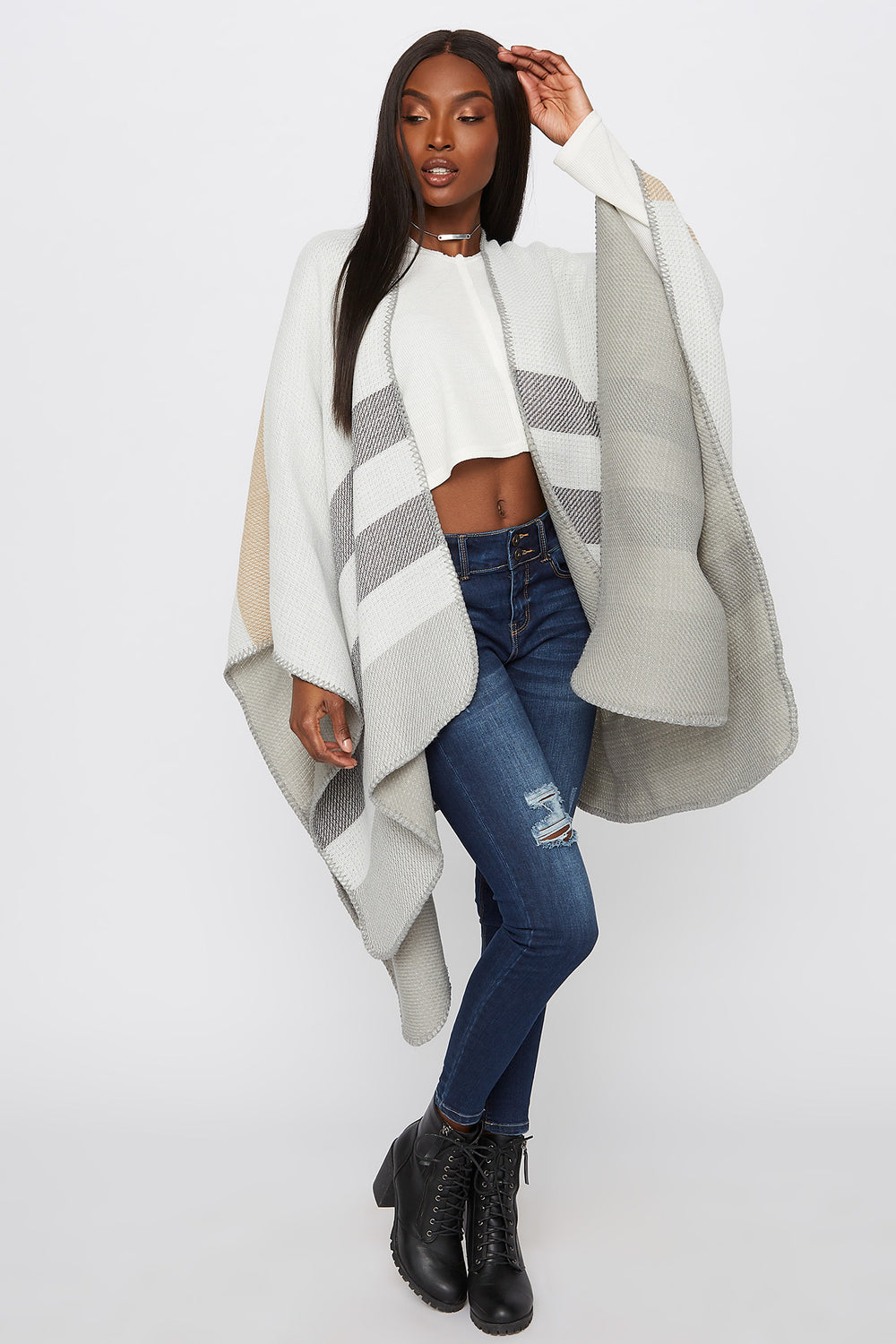 Knit Striped Cape Heather Grey