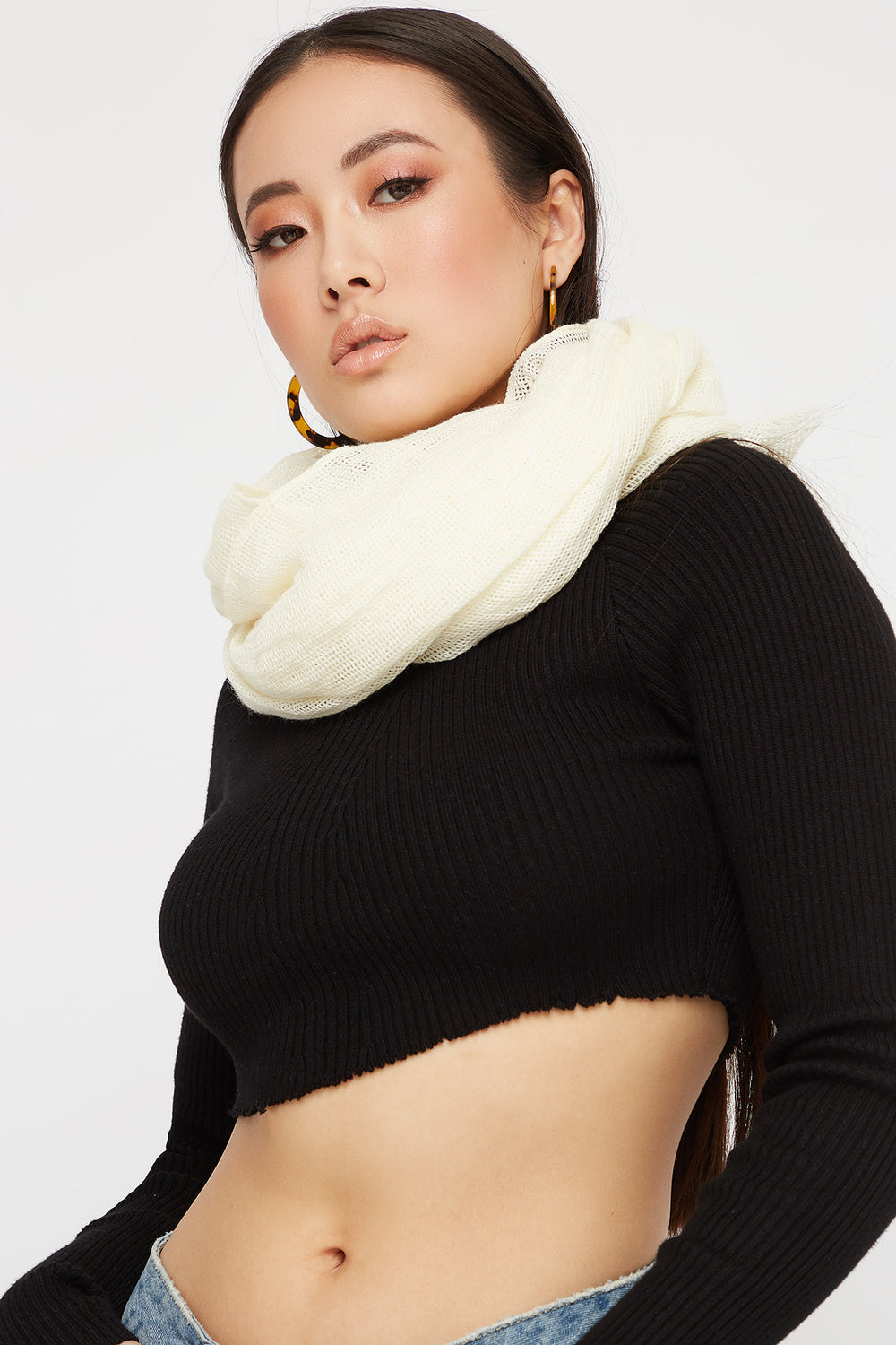 Women Scarves Cross Hatch Knit Scarf Ivory