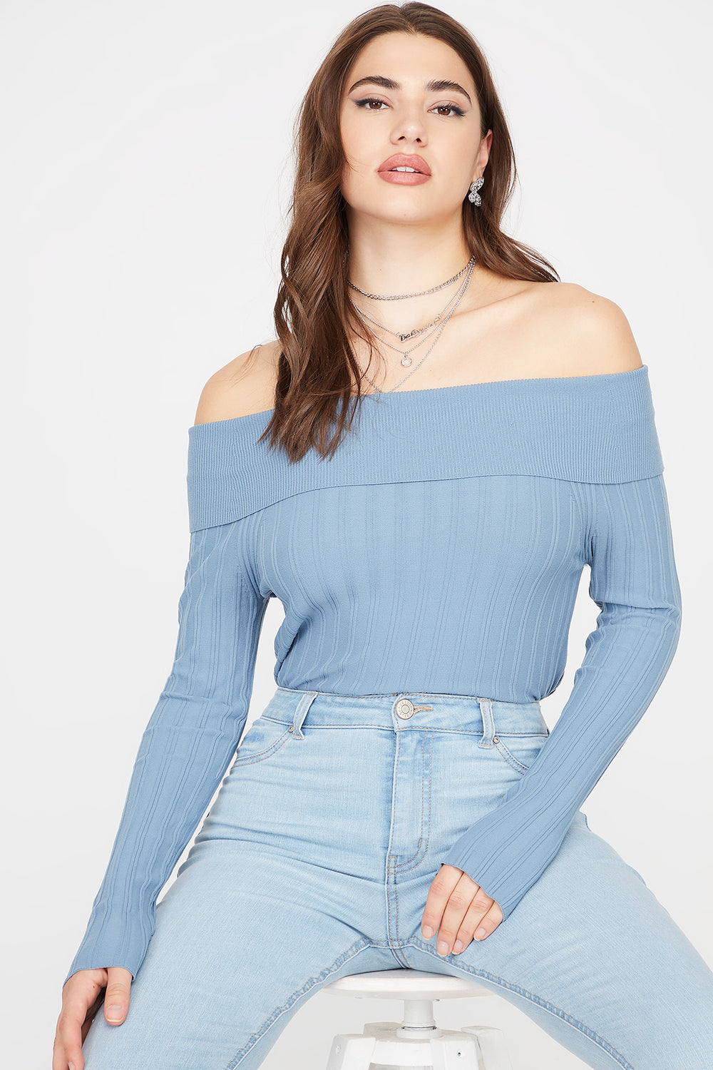 Ribbed Off The Shoulder Long Sleeve Sweater Light Blue