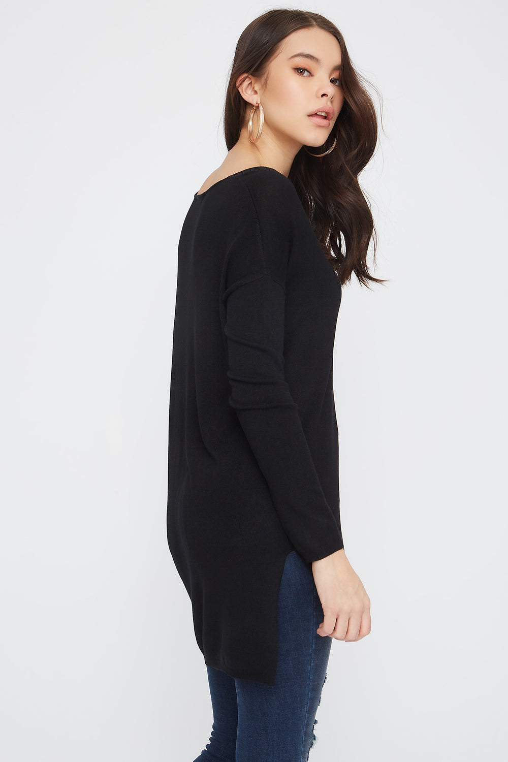 Knit V-Neck High-Low Long Sleeve Black