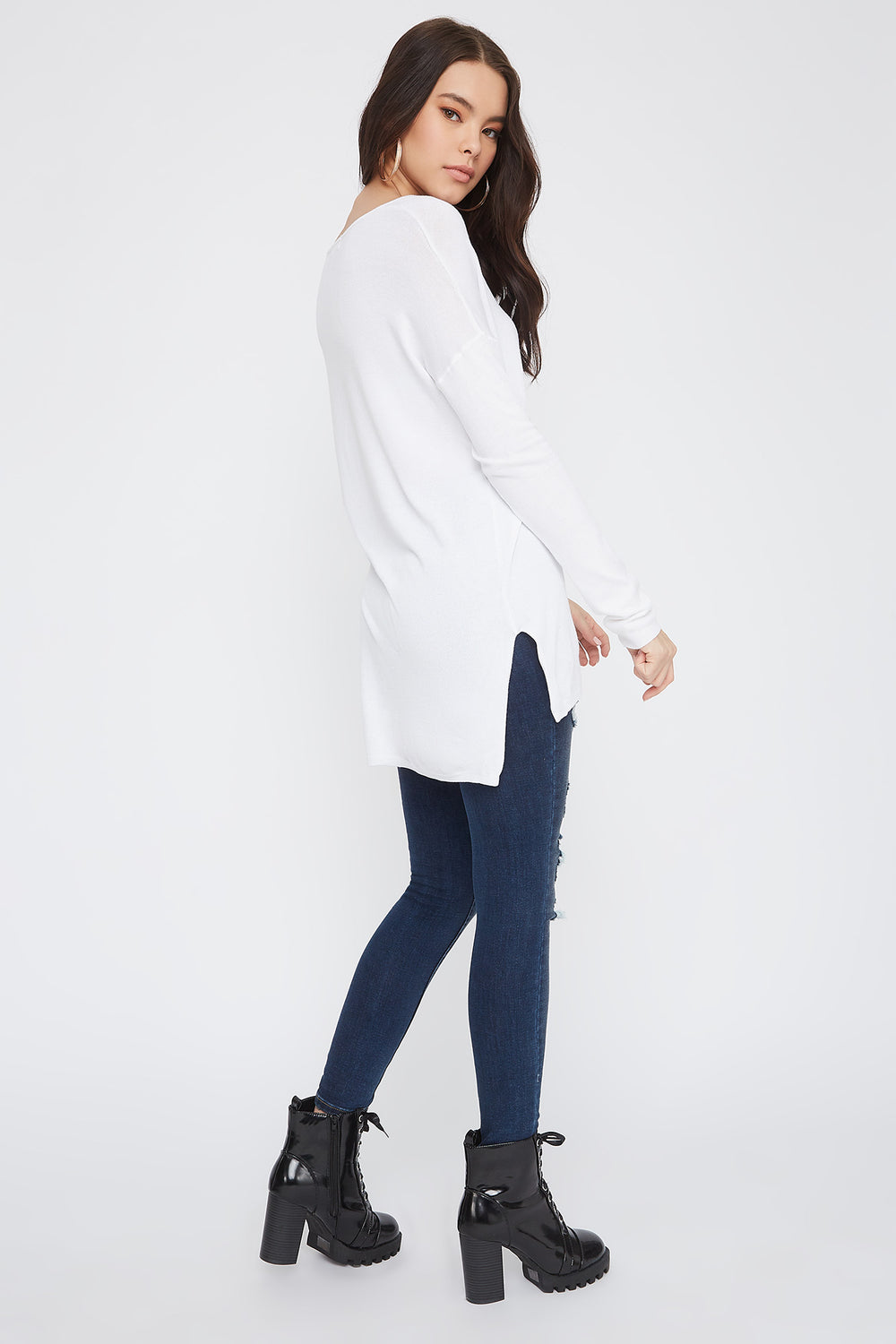 Knit V-Neck High-Low Long Sleeve White