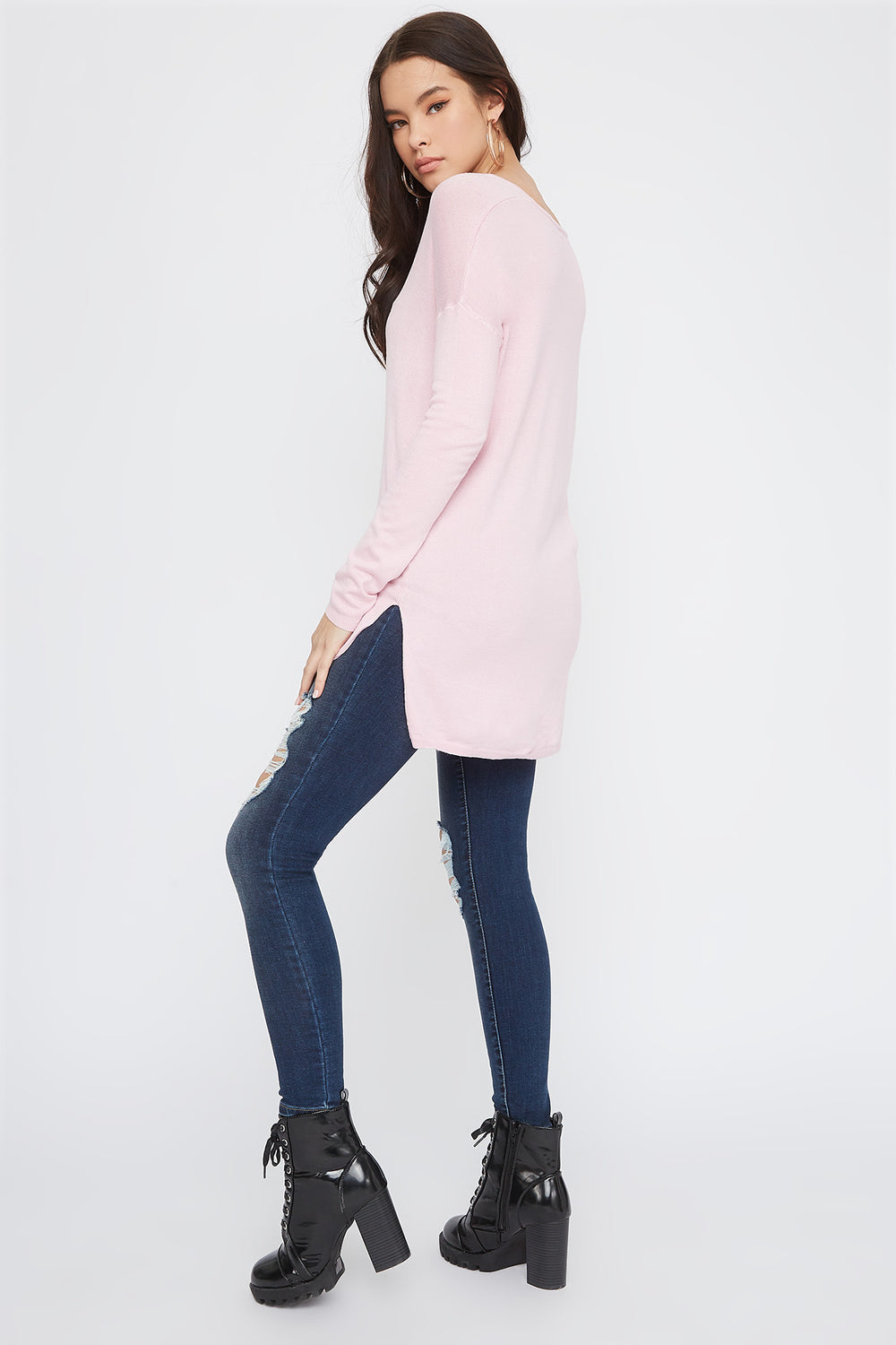 Knit V-Neck High-Low Long Sleeve Pink