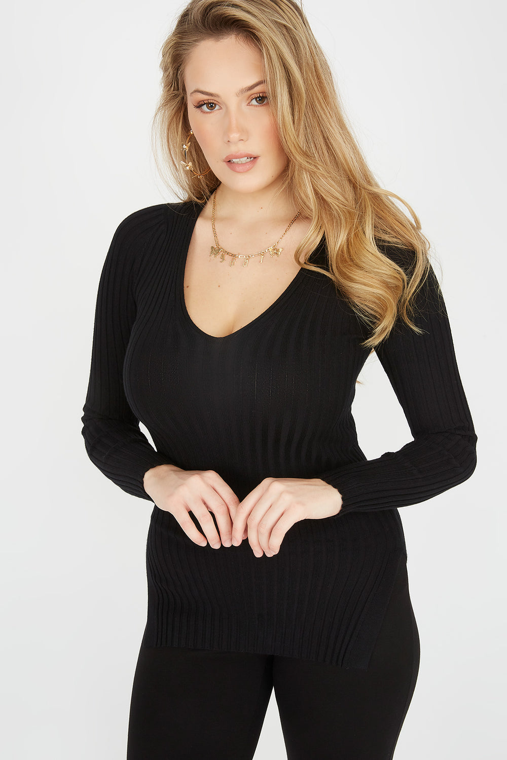 Ribbed V-Neck Side Slit Sweater Black