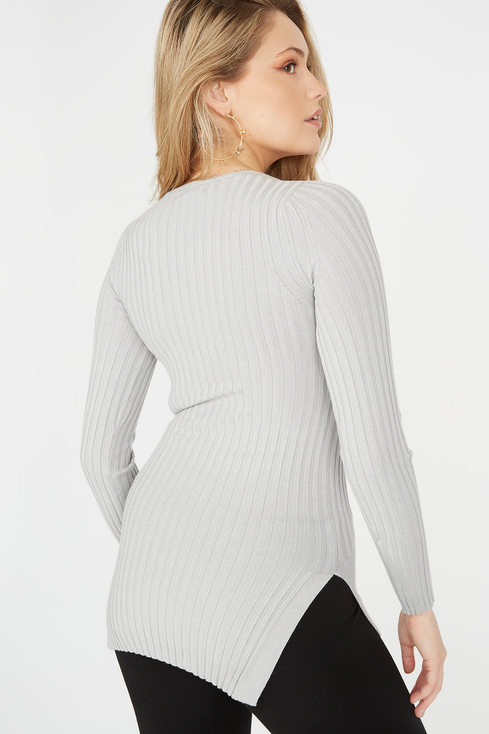 Ribbed V-Neck Side Slit Sweater Heather Grey