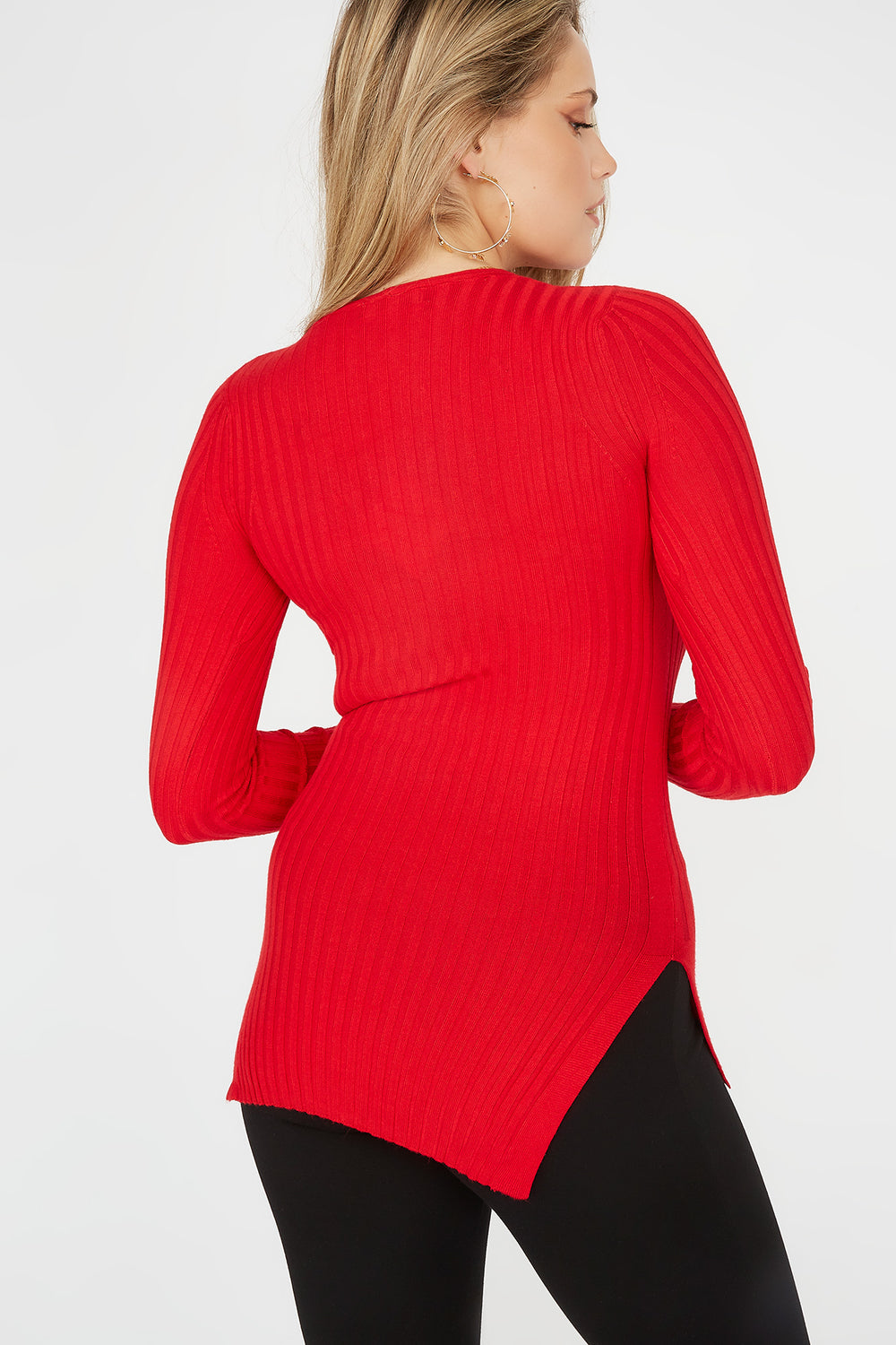 Ribbed V-Neck Side Slit Sweater Red