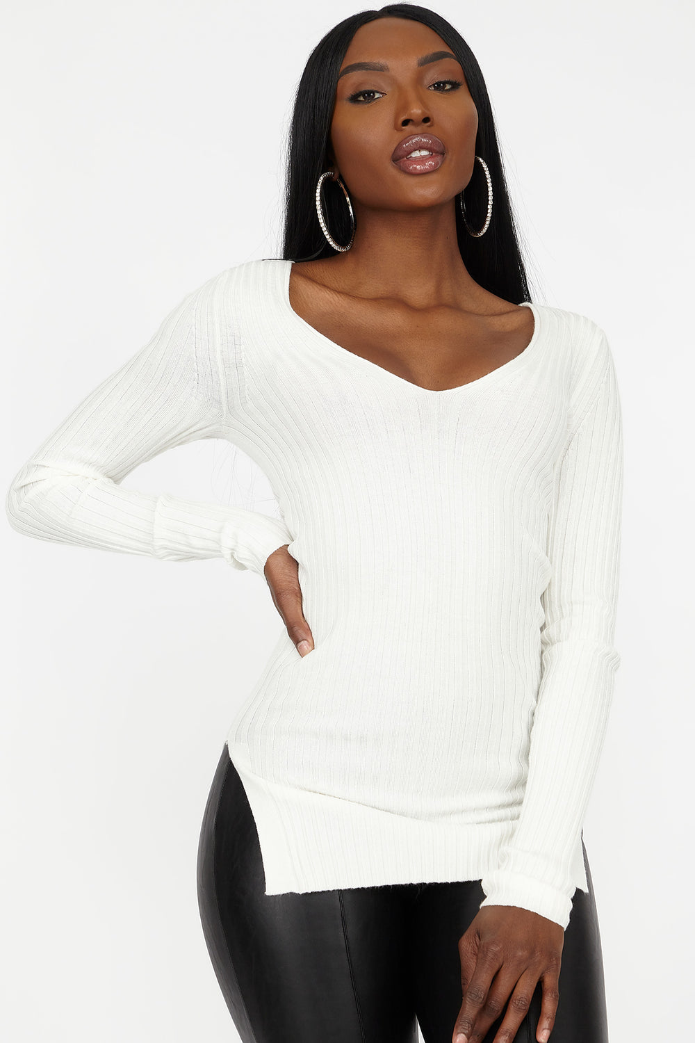 Ribbed V-Neck Side Slit Sweater Ivory