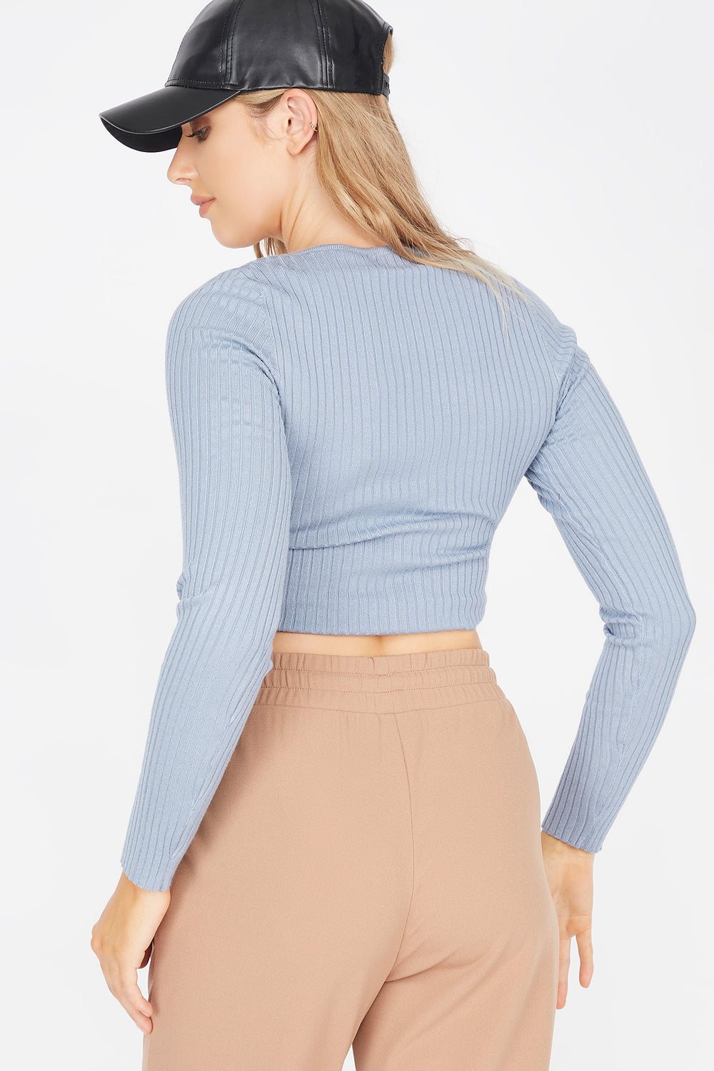 Ribbed V-Neck Ruched Front Sweater Blue