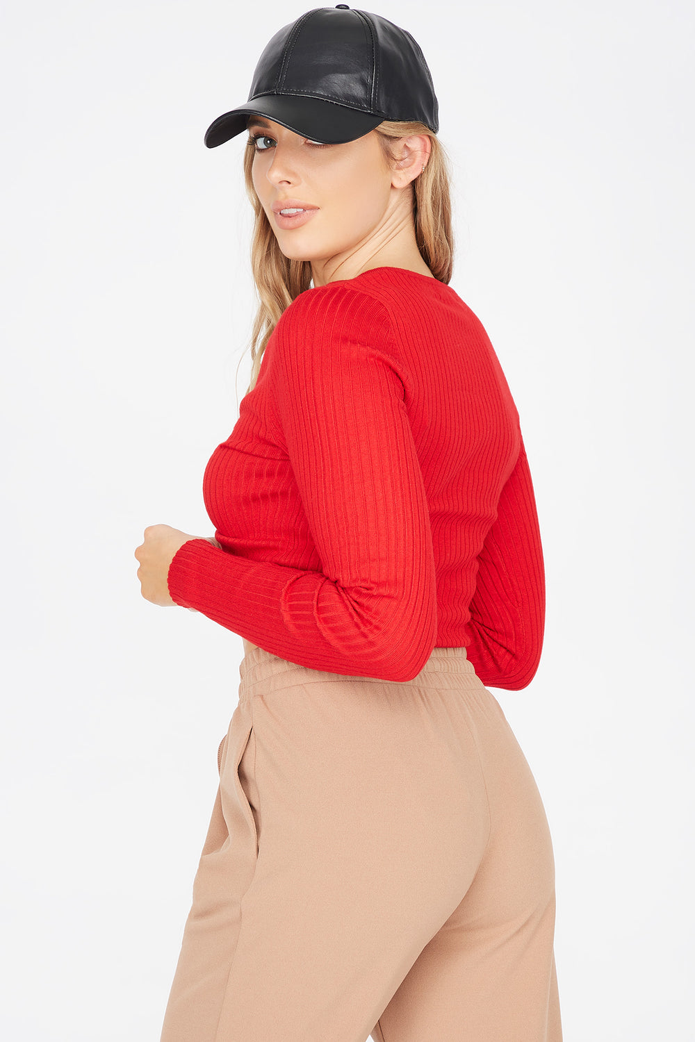 Ribbed V-Neck Ruched Front Sweater Red